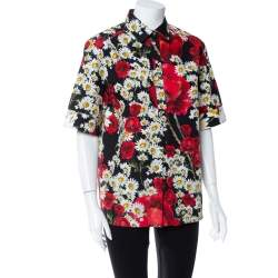 Dolce & Gabbana Black Poppy & Daisy Printed Cotton Half Button Short Sleeve Shirt M