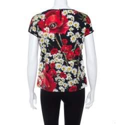 Dolce & Gabbana Black Cotton Poppy & Daisy Printed Top S