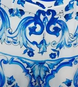 Dolce & Gabbana White & Blue Majolica Printed Silk Tapered Leg Trousers M