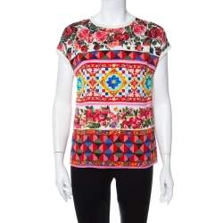 Dolce & Gabbana Multicolor Multiprinted Silk Top S