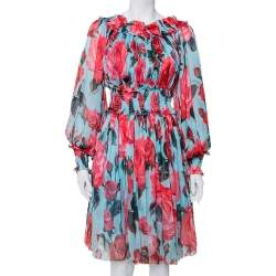 Dolce & Gabbana Blue Rose Printed Silk Smocked Detail Midi Dress M