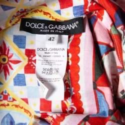Dolce & Gabbana Pink Mambo Printed Cotton Flared Shift Dress M