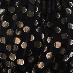 فستان ميني دولتشي أند غابانا لوريكس حرير ذهبي وأسود منقط طبقات مقاس متوسط - ميديوم