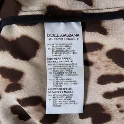 Dolce & Gabbana Brown Animal Printed Silk Contrast Trim Detail Zip Front Jacket S