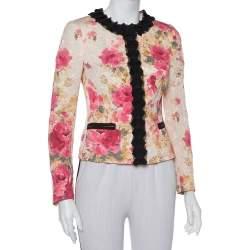 Dolce & Gabbana Cream Floral Jacquard Contrast Trim Detail Button Front Round Neck Jacket S