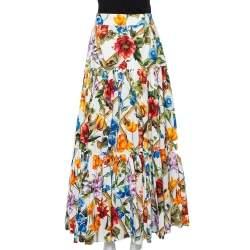 تنورة ماكسي دولتشي أند غابانا قطن بامبو مطبوع متعدد الألوان طبقات مقاس متوسط - ميديوم