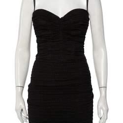 Dolce & Gabbana Black Knit Ruched Midi Dress M