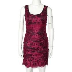 Dolce & Gabbana Magenta Lace Contrast Satin Trim Ruched Sleeveless Mini Dress S