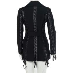 Dolce & Gabbana Black Wool Lace Up Detail Double Breasted Overcoat S