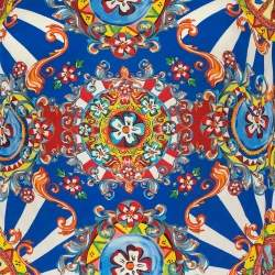 Dolce & Gabbana Multicolor Carretto Siciliano Printed Silk Top M