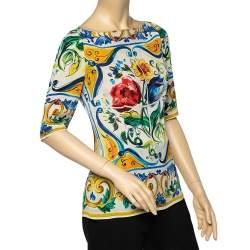 Dolce & Gabbana Multicolor Majolica Printed Silk Boat Neck Top M