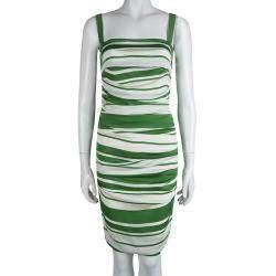 Dolce & Gabbana Green and White Striped Silk Ruched Sleeveless Dress M