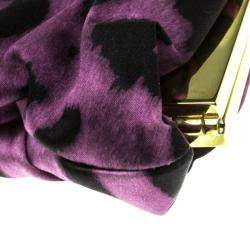 Dolce & Gabbana Purple Leopard Print Satin Miss Lady Clutch