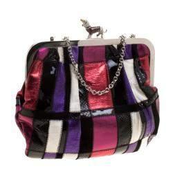 Dolce & Gabbana Multicolor Patchwork Crystal Embellished Chain Clutch