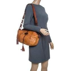 Dolce & Gabbana Brown Python Tassel Shoulder Bag