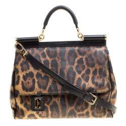 Dolce & Gabbana Brown Leopard Print Coated Canvas Large Miss Sicily Top Handle Bag