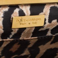 Dolce & Gabbana Peach/Gold Quilted Stitch Leather and Suede Frame Bag