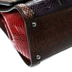 Dolce & Gabbana Multicolor Python and Brocade Medium Monica Top Handle Bag