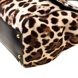 Dolce & Gabbana Beige/Black Leopard Print Calfhair Large Miss Sicily Top Handle Bag