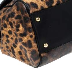 Dolce & Gabbana Black/Brown Leopard Print Coated Canvas and Leather Large Miss Sicily Top Handle Bag