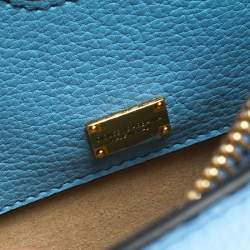 Dolce & Gabbana Light Blue Leather Rosalia Top Handle Bag