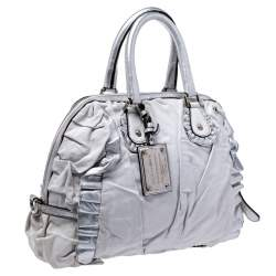 Dolce & Gabbana Silver Leather Miss Rouche Distressed Satchel