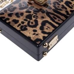 Dolce & Gabbana Black/Brown Leopard Print Acrylic Box Bag