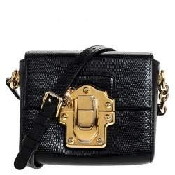 حقيبة كروس دولتشي أند غابانا لوسيا صغيرة جلد سحلية أسود