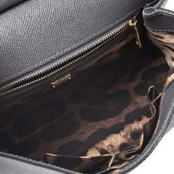 حقيبة دولتشي أند غابانا ميس سيسيلي متوسطة يد علوية جلد رصاصي داكن