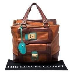 Dolce & Gabbana Brown/Turquoise Leather Push Lock Satchel