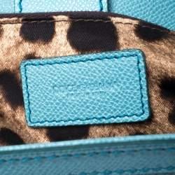 Dolce & Gabbana Aqua Blue Leather Large Miss Sicily Top Handle Bag