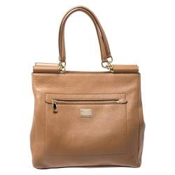 Dolce & Gabbana Brown Leather Front Pocket Sicily Tote