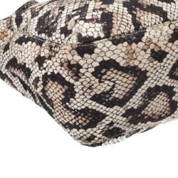 حقيبة يد دولتشي أند غابانا قماش مطبوع نقشة جلد الثعبان بيج و أسود