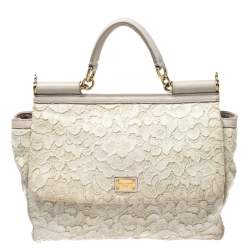 Dolce & Gabbana Off White Lace Miss Sicily Top Handle Bag