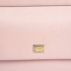 Dolce & Gabbana Powder Pink Embellished Leather Small Miss Sicily Top Handle Bag