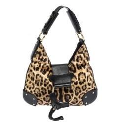 Dolce & Gabbana Black/Brown Leopard Print Velvet and Leather D-Ring Hobo