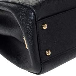 Dolce & Gabbana Black Leather Miss Sicily Top Handle Bag