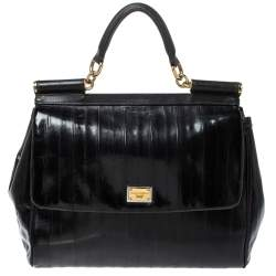 Dolce & Gabbana Black Striped Leather Large Miss Sicily Top Handle Bag