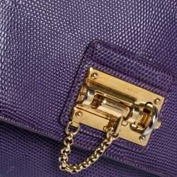 Dolce & Gabbana Purple Lizard Embossed Leather Medium Miss Monica Top Handle Bag