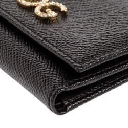 Dolce & Gabbana Black Leather DG Rhinestone Trifold Wallet