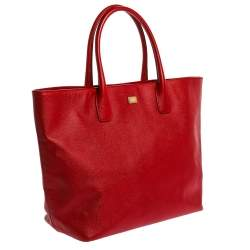 Dolce & Gabbana Red Leather Shopper Tote