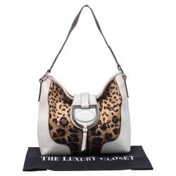 Dolce & Gabbana White Leopard Print Canvas and Leather D Ring Flap Hobo