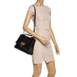 Dolce & Gabbana Black Lizard Embossed Leather Medium Miss Monica Top Handle Bag