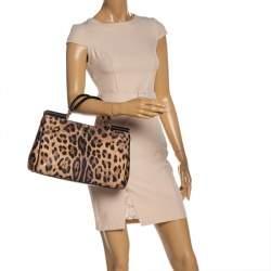 Dolce & Gabbana Leopard Print Leather Miss Sicily Shopper Tote