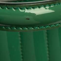 Dolce & Gabbana Green Stripe Patent Leather Medium Sicily Top Handle Bag