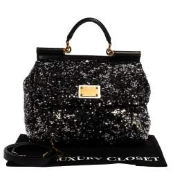 Dolce & Gabbana Silver/Black Sequin and Leather Large Miss Sicily Top Handle Bag