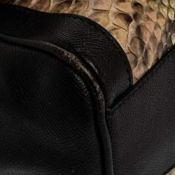 Dolce & Gabbana Brown Leather and Python Medium Miss Sicily Top Handle Bag