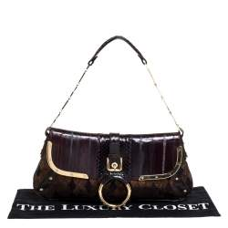 Dolce and Gabbana Brown/Gold Leather, Lamé Fabric and Python Ring Handle Shoulder Bag