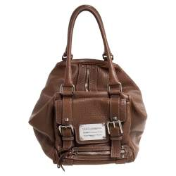 Dolce & Gabbana Brown Grained Soft Leather Miss Easy Way Bag