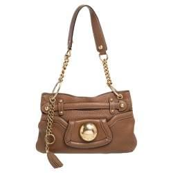 Dolce & Gabbana Tan Leather Chain Shoulder Bag